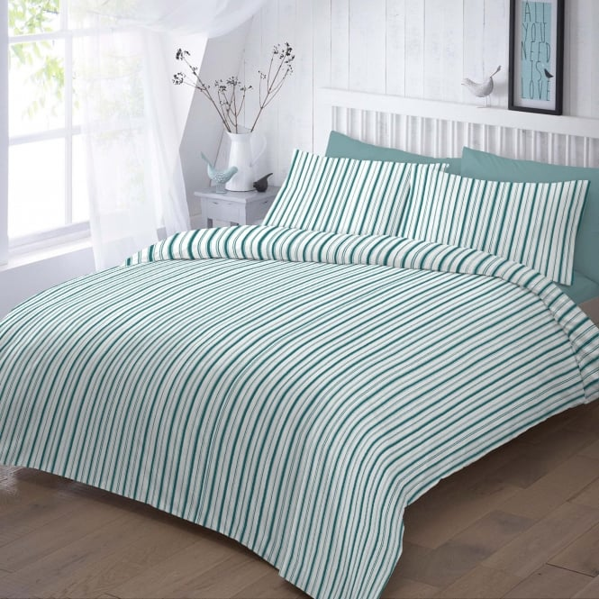 Sleep&Beyond Easycare 144 Thread Count Stripe Duvet Cover Set - Jade Stripes