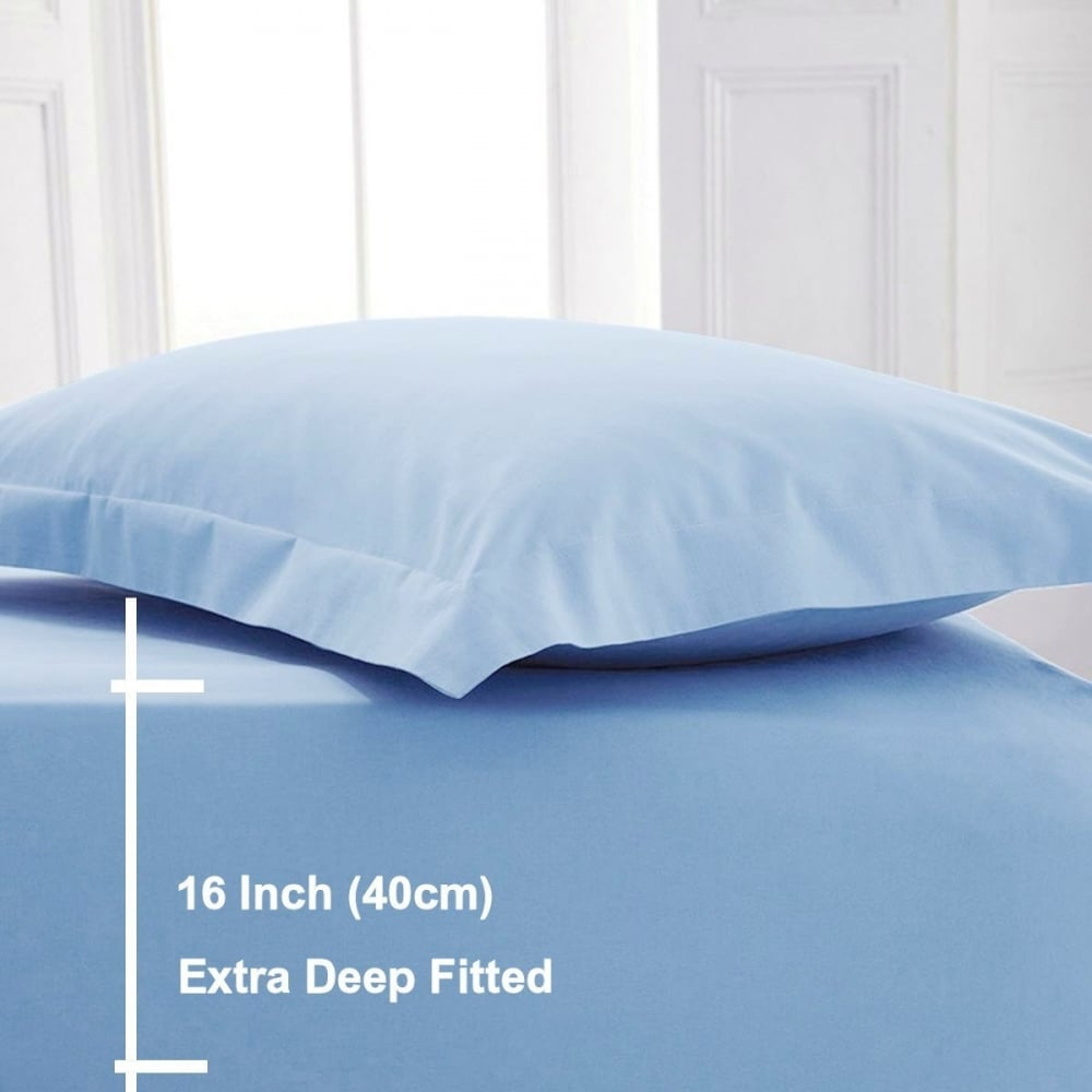 Egyptian Cotton Percale 200 Thread Count Extra Deep Fitted Sheets